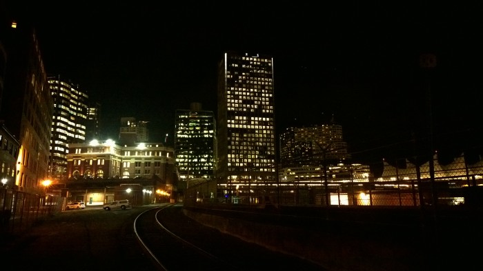 Downtown Vancouver from Gastown Train Tracks